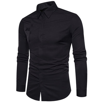 Men's Autumn Casual Formal Slim Fit Cotton Long Sleeve Dress Shirt Top Blouse