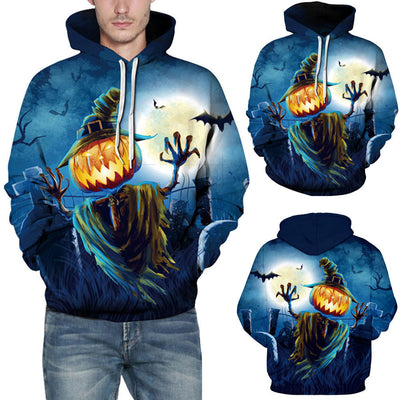 Casual Autumn Winter 3D Printing Halloween Hoodies