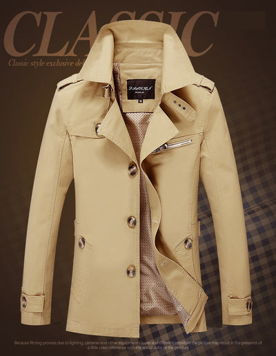 100% Pure Cotton Casual Long Jackets Men