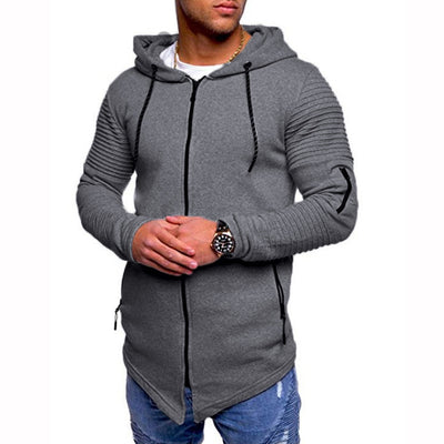 Men Casual Autumn Long Sleeve Slim Zipper Solid Color Hooded Coat