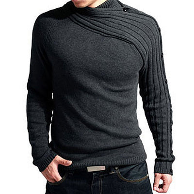 Autumn Winter Knitted Solid Casual Men Sweater