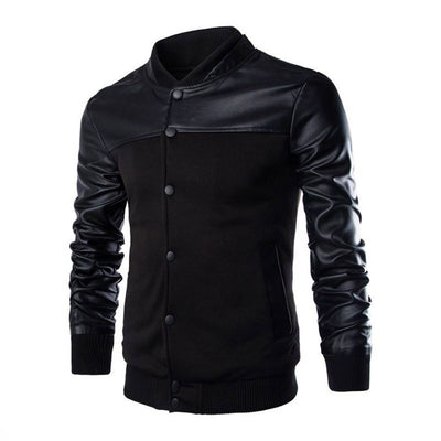 Men's Autumn Winter Casual  Long Sleeve Stand Patchwork Jacket Top Blouse