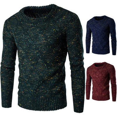 O-Neck Color Dot Slim Fit Knitting Mens Sweaters