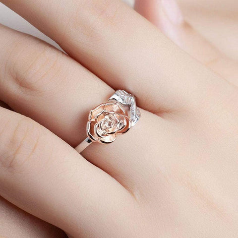 Adjustable Silver Rose Ring Bee Inspired Save The Bees