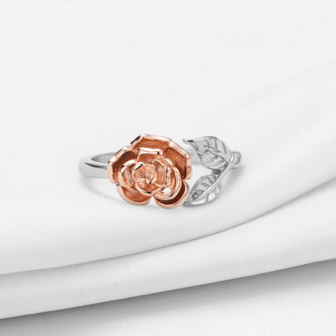 Bee Mission Bee Inspired Adjustable Silver Rose Ring Save The Bees