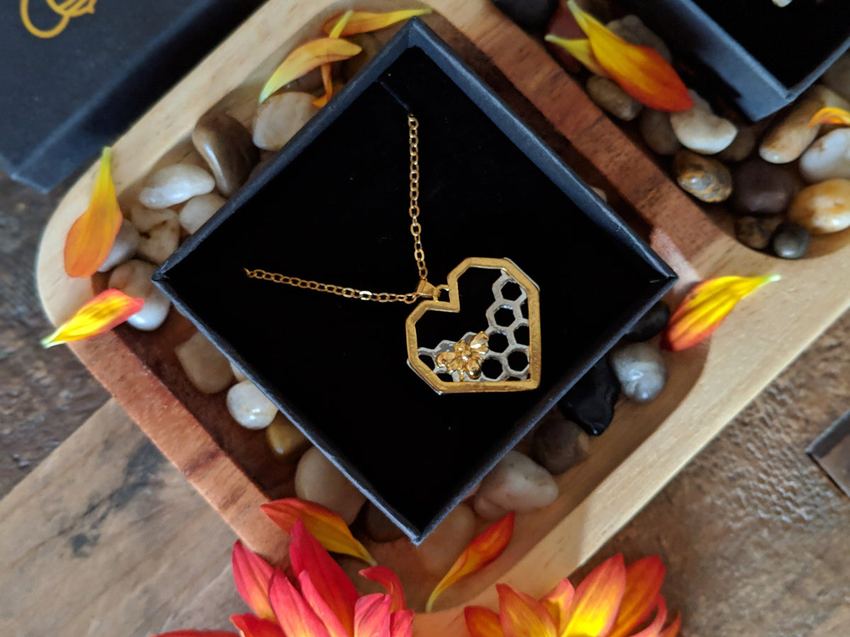 Limited Edition Honeycomb Heart Necklace (Bee Inspired) without Box