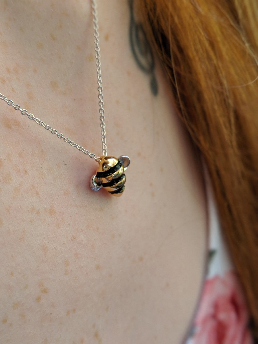 "Limited Edition ""Bee Inspired"" Silver & Gold Bumblebee Necklace without Box"