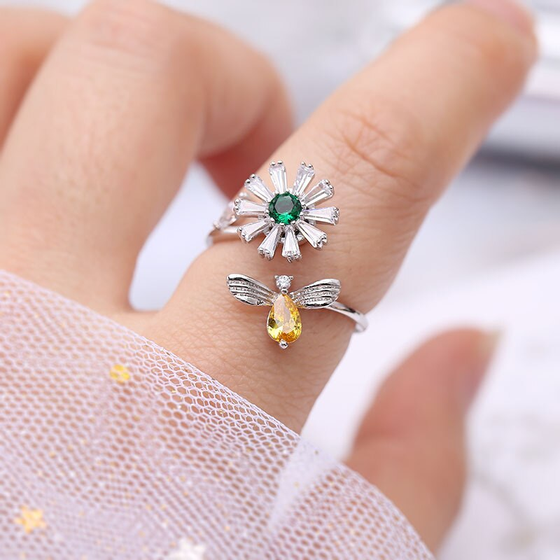 Adjustable Crystal Bee & Flower Ring