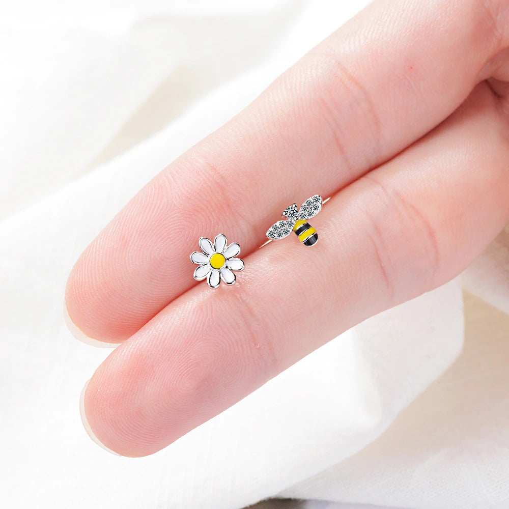 Flower & Crystal Bee Earrings