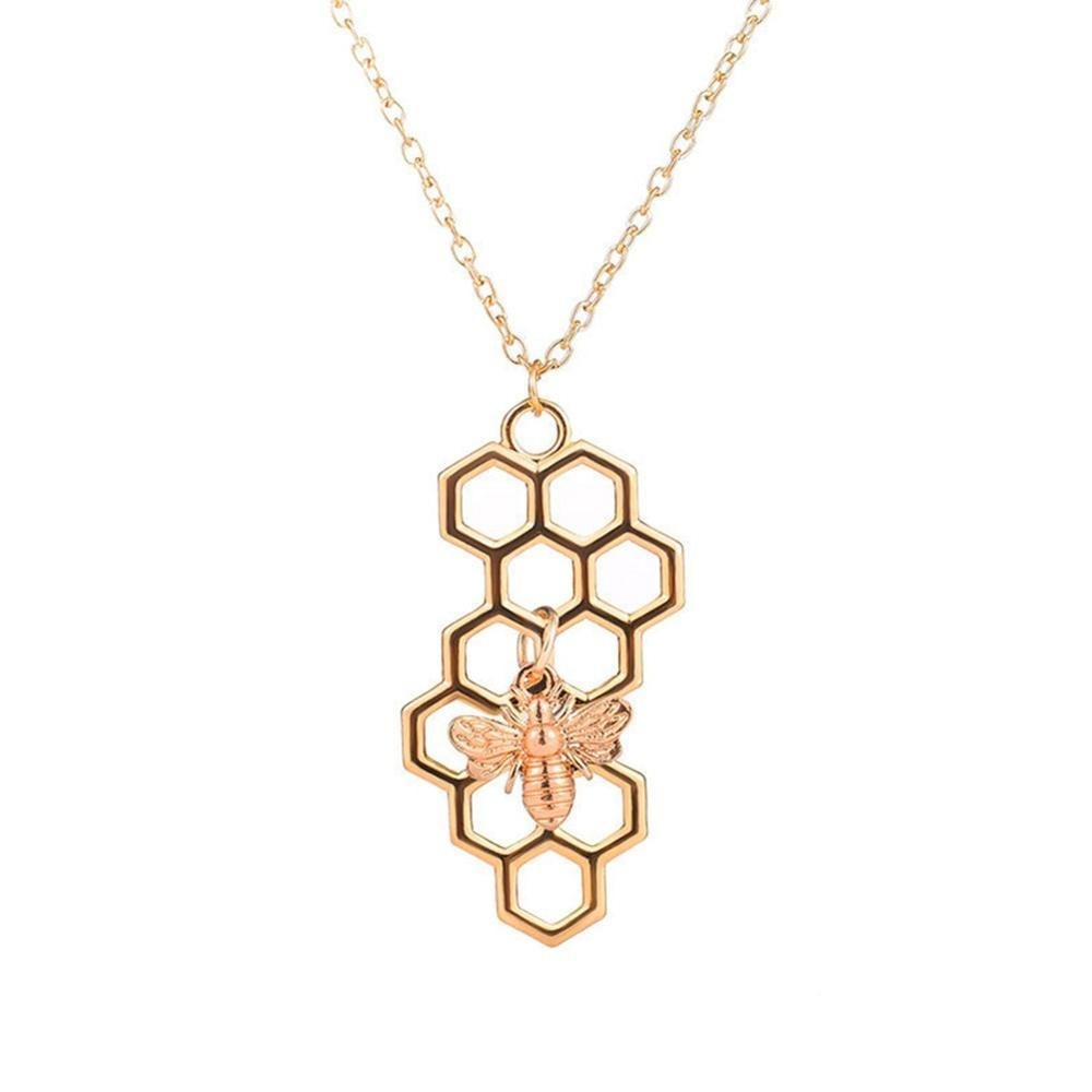 Vertical Honeycomb & Bee Necklace
