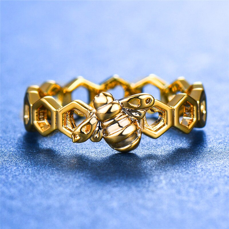 Honeycomb & Bee Accented Ring