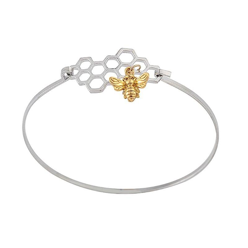 Horizontal Honeycomb & Bee Bracelet