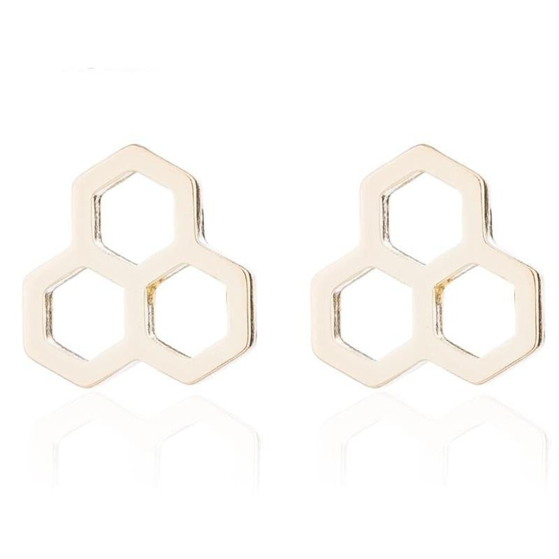 Triple Honeycomb Studded Earrings