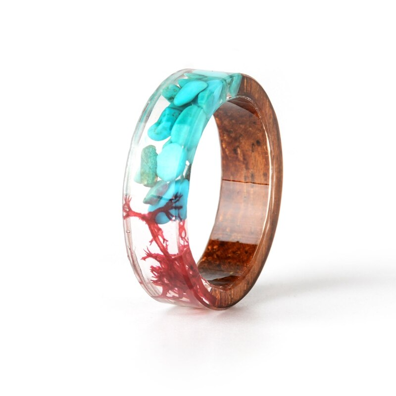 Resin Wood & Flower Ring
