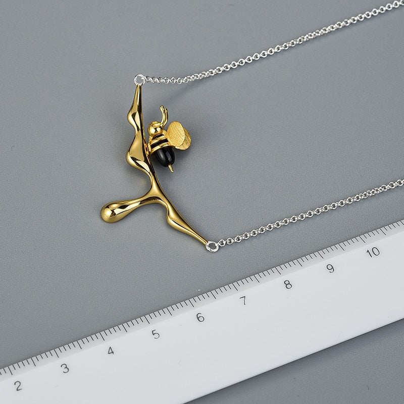 Limited Edition Silver & Gold Honey Drop Bee Necklace