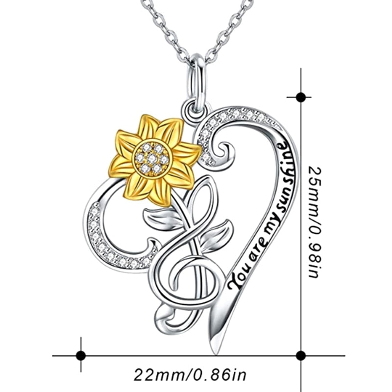 """You Are My Sunshine"" Sunflower Heart Necklace"