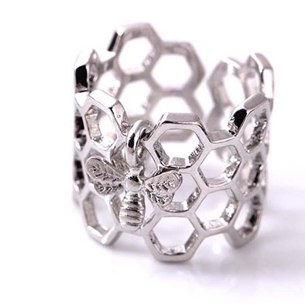 Adjustable Honeycomb & Bee Ring