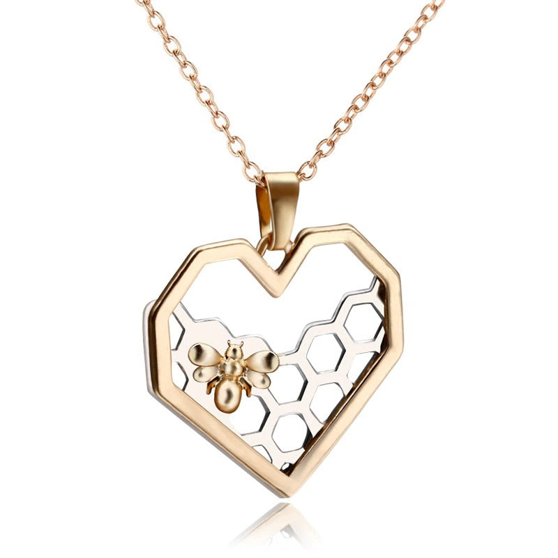 Contemporary Honeycomb Heart Necklace