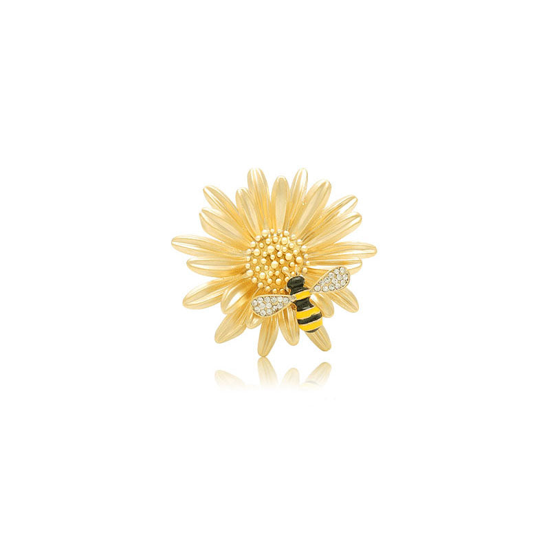Bee & Yellow Flower Brooch