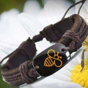 Leather Bee Bracelet