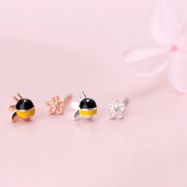 Baby Bumblebee & Flower Earrings
