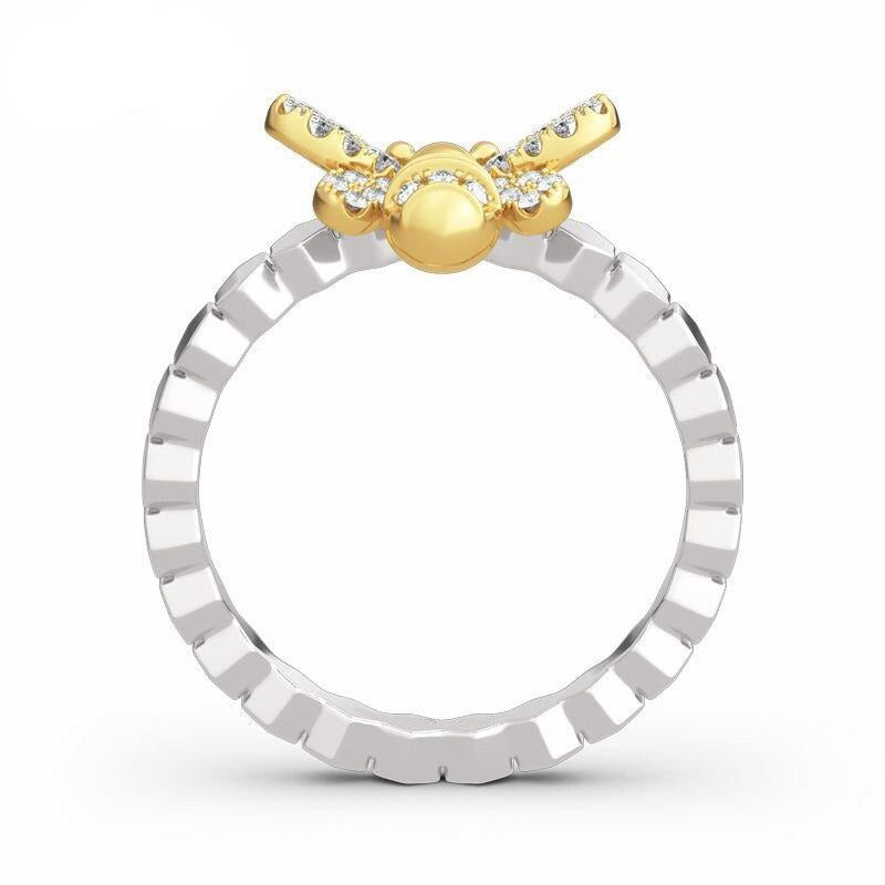 Honeycomb & Accented Bee Ring
