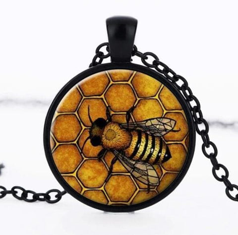 Image of Glass Beehive And Bee Necklace