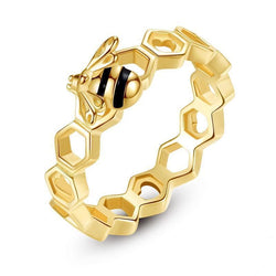 Gold Honeycomb Bee Ring