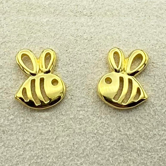 Gold Plated Baby Bee Earrings