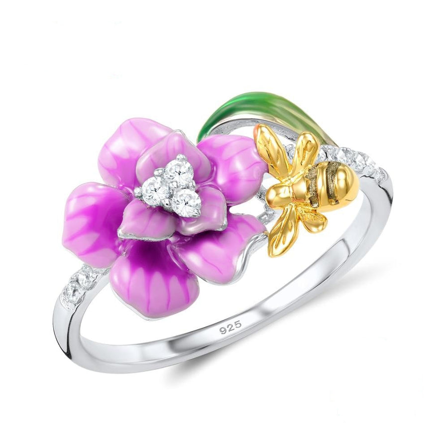 Enamel Bee & Flower Ring