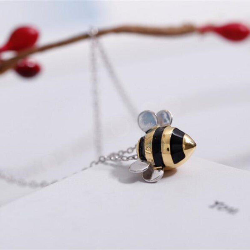 Contemporary Silver Bumblebee Necklace