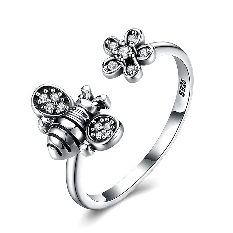 Adjustable Bee & Flower Ring