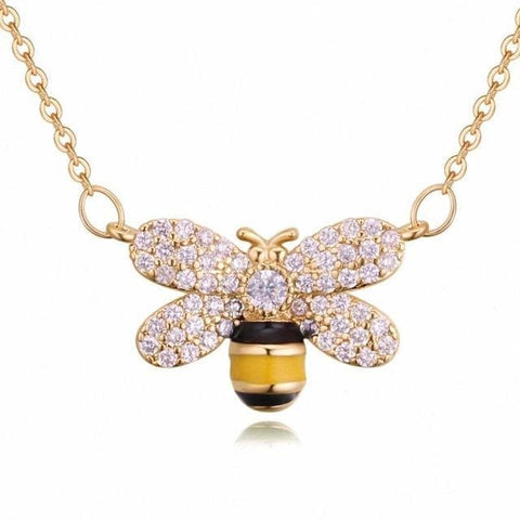 Image of Limited Edition Cubic Zirconia Bee Necklace