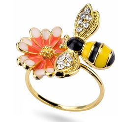Limited Edition Gold Honeybee And Flower Ring