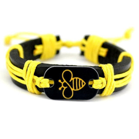 Image of Limited Edition Handmade Leather Bee Bracelet