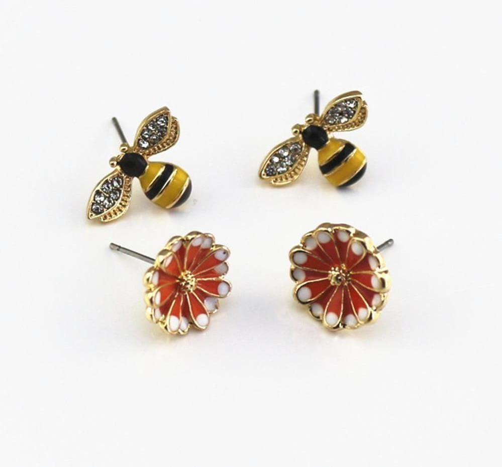 Limited Edition Studded Bee And Flower Earrings
