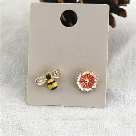 Image of Limited Edition Studded Bee And Flower Earrings