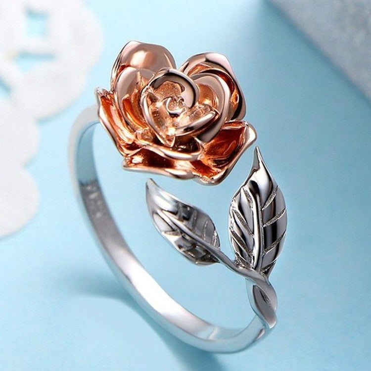 Adjustable Silver Rose Ring