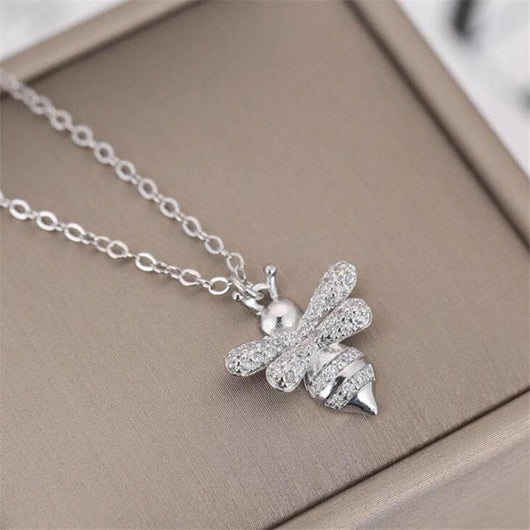 Sterling Silver Rhinestone Bee Necklace