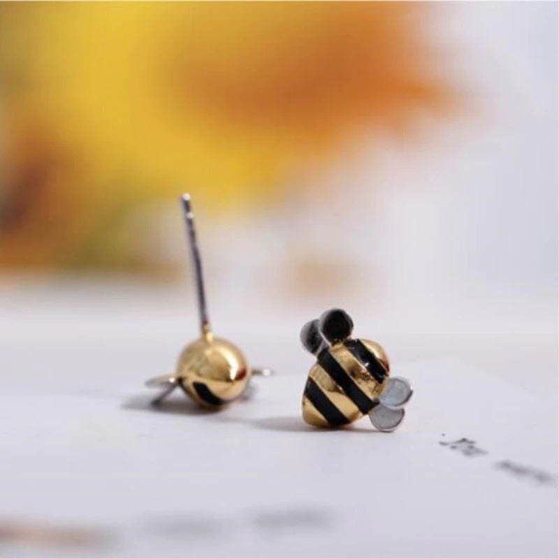 Contemporary Silver Bumblebee Earrings