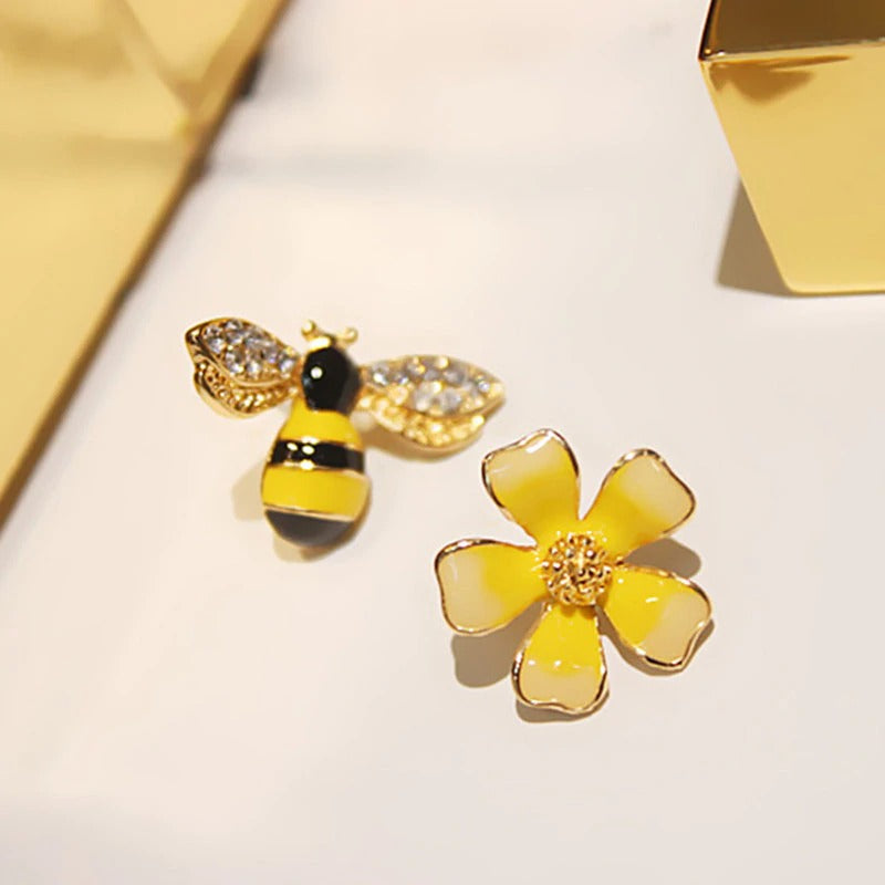 Enamel Bee & Flower Earrings