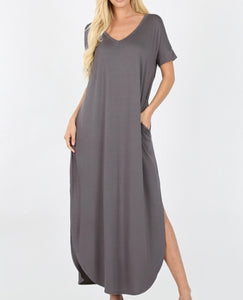 Dark grey flowy maxi (plus available)