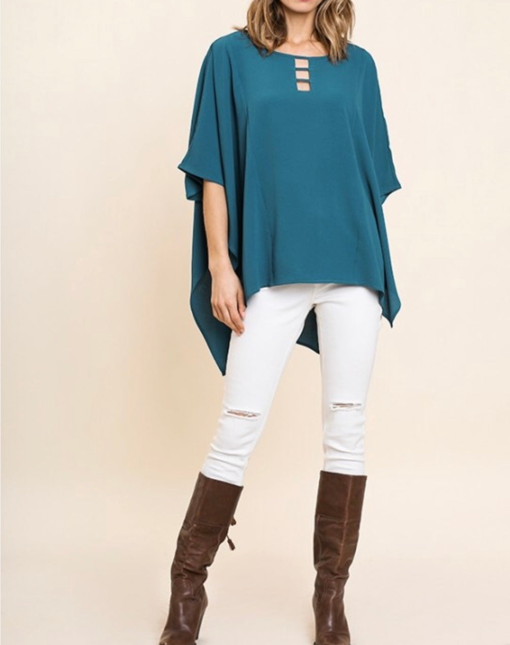 Dark teal Umgee top