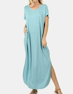 Robins egg blue flowy maxi dress (plus available)
