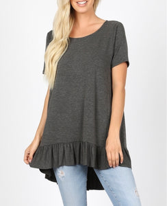 Charcoal ruffle bottom tee (plus available)