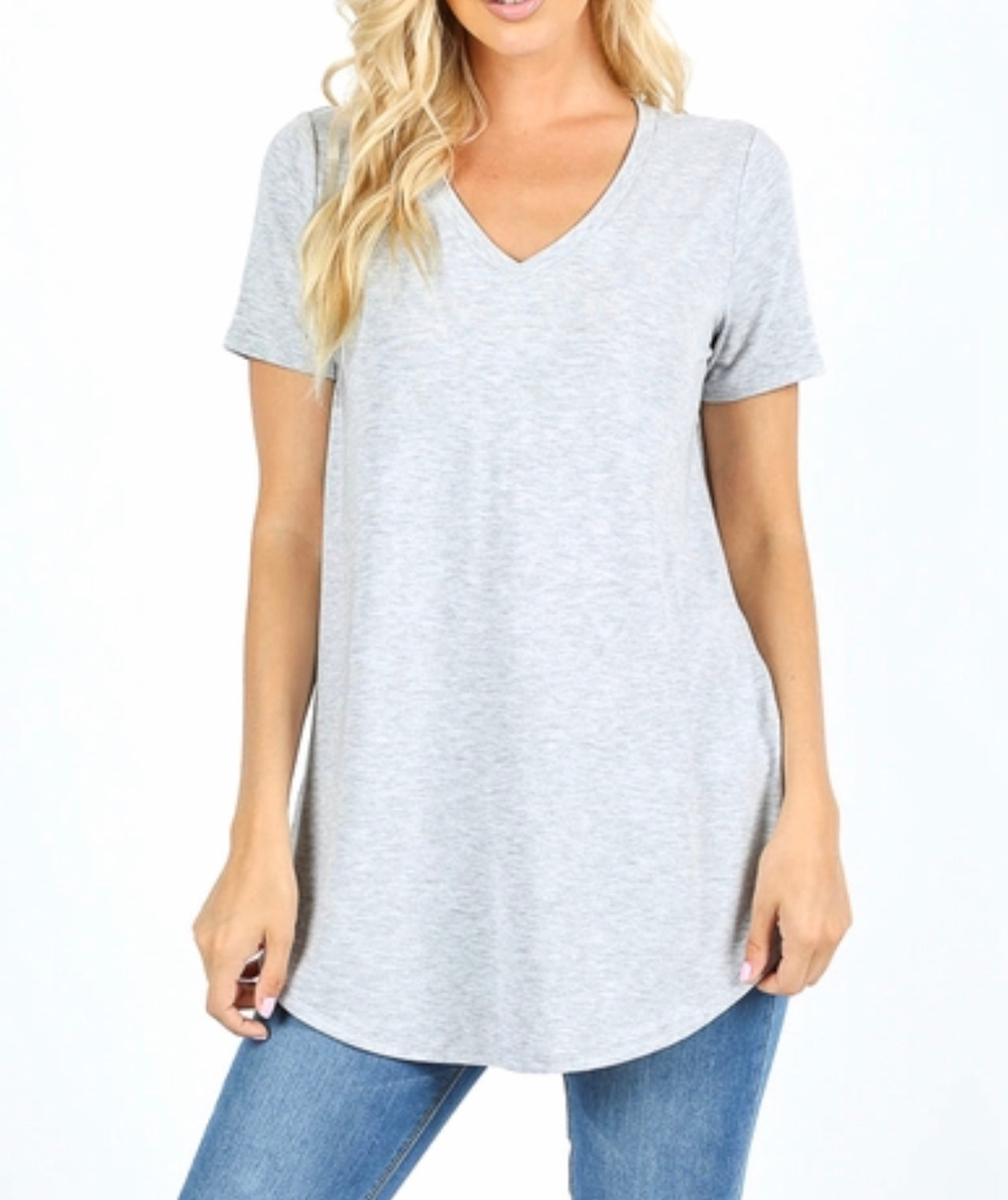 Heather Grey Vneck tee (plus available)