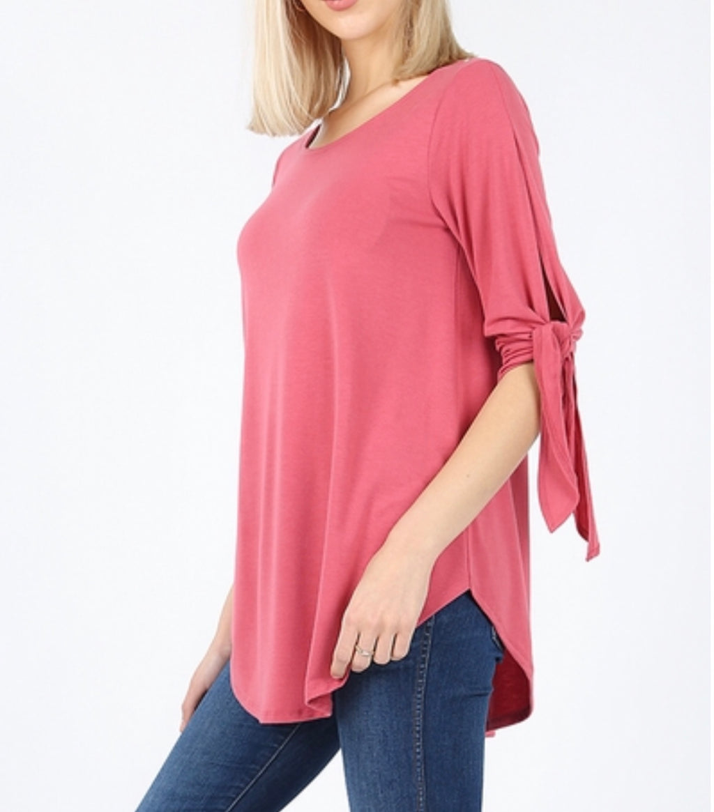 Rose tie sleeve top (plus available)
