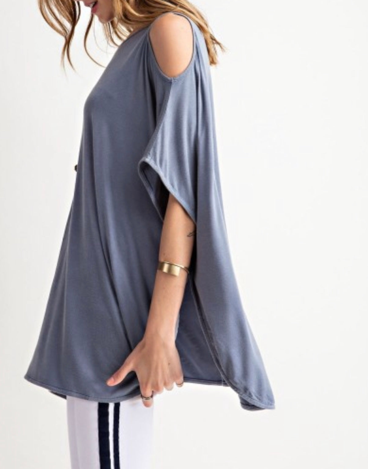 Slate blue tulip top (PLUS)