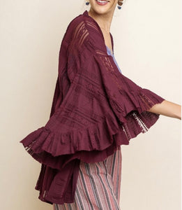 Wine Lace kimono with bell sleeve