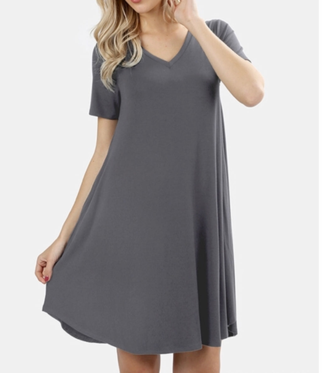 Grey Vneck tee dress (plus available)